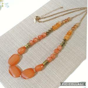Avenue Gold & Orange Beads Long Necklace